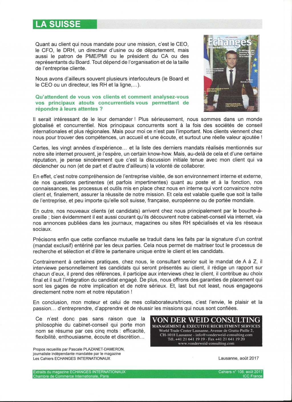 Von der weid consulting executive search selection for Cci chambre de commerce internationale